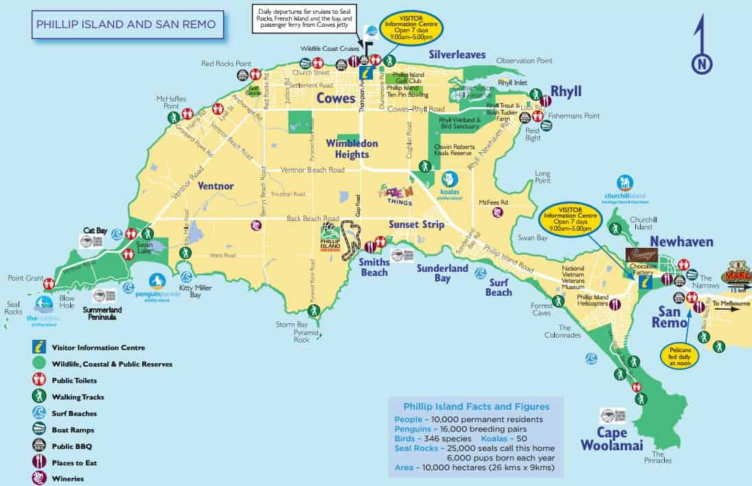 Phillip Island Map Phillip Island Map   Tourist Attractions, Cowes & Penguins Map